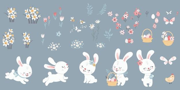 Grande conjunto de coelhinhos da páscoa, ovos, frango e flores