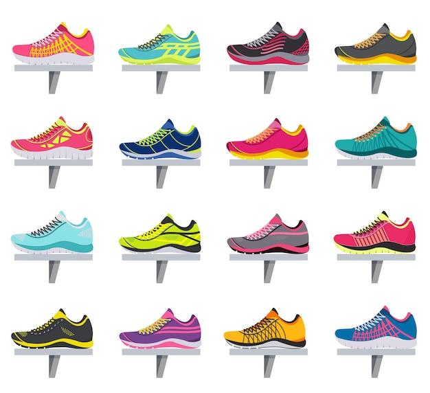 Grande conjunto de coleção de ilustração plana de tênis para correr