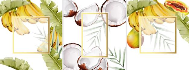 Grande conjunto de composição aquarela com bananas, pêra e coco