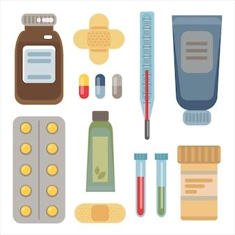 Grande conjunto de comprimidos para medicamentos, comprimidos, termômetro, emplastros, tubos de ensaio