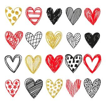 Grande conjunto de coração desenhado à mão.