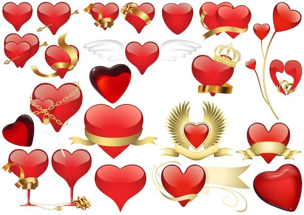 Grande conjunto de coração vermelho