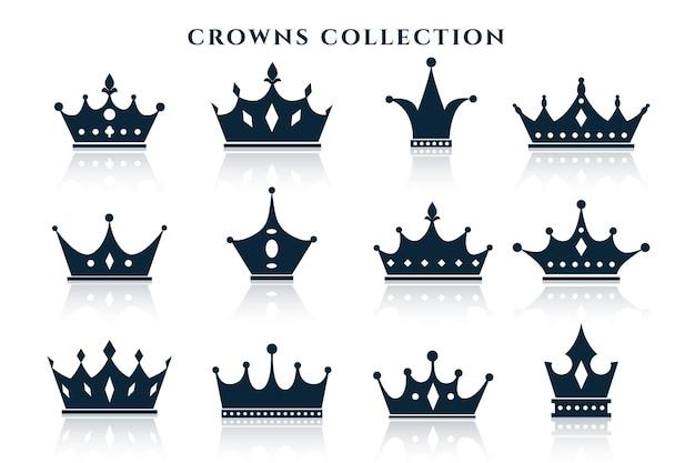 Grande conjunto de coroas em diferentes estilos