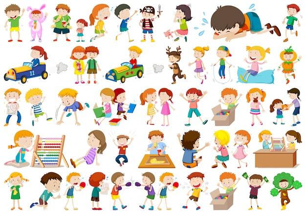 Grande conjunto de crianças