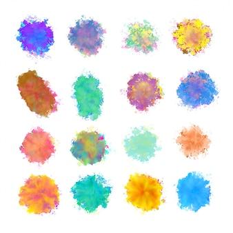 Grande conjunto de design de textura de respingos de aquarela