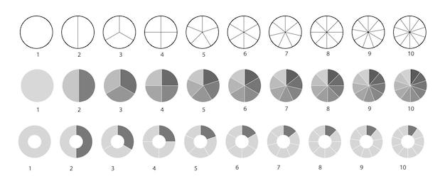 Grande conjunto de diagramas de rodas isolado em um fundo branco. conjunto de círculos segmentados. vários números de setores dividem o círculo em partes iguais. gráficos de contorno fino preto.