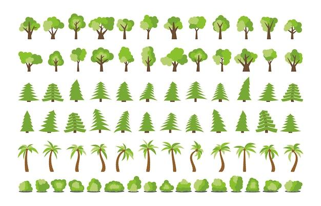 Grande conjunto de diferentes árvores e arbustos. ilustração vetorial
