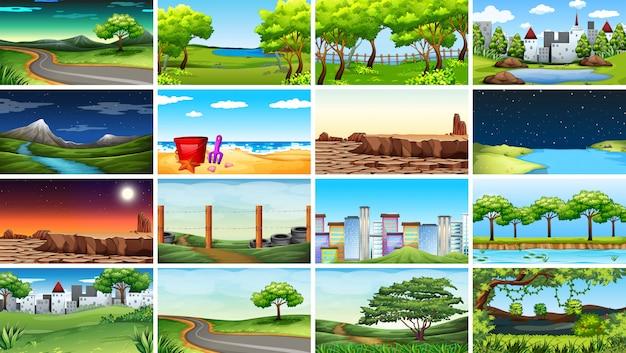 Grande conjunto de diferentes cenas de fundo