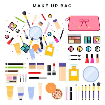 Grande conjunto de diferentes cosméticos decorativos. conteúdo do saco de cosmética feminina. tudo para maquiagem