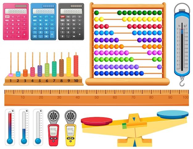 Grande conjunto de diferentes ferramentas de medição