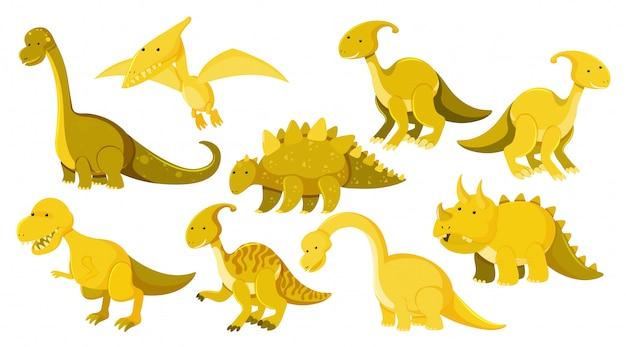 Grande conjunto de diferentes tipos de dinossauros