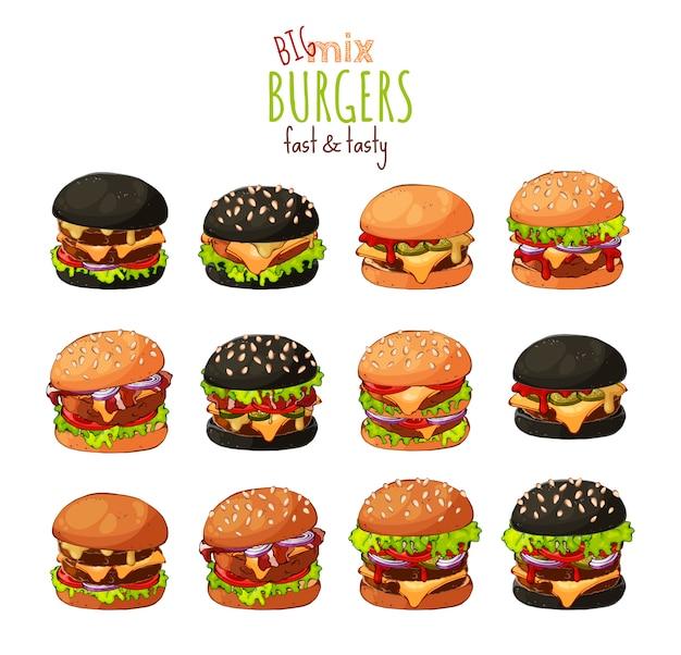 Grande conjunto de diferentes tipos de hambúrgueres.