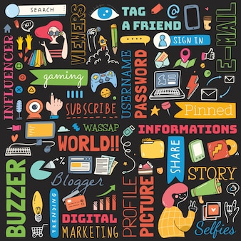 Grande conjunto de doodle de plano de fundo de mídia social