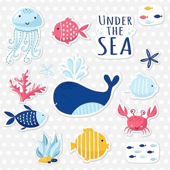 Grande conjunto de elementos bonitos do mar para cartões e adesivos. projeto do tema marinho. para aniversários, convites para festas, scrapbooking, cartões. ilustração vetorial