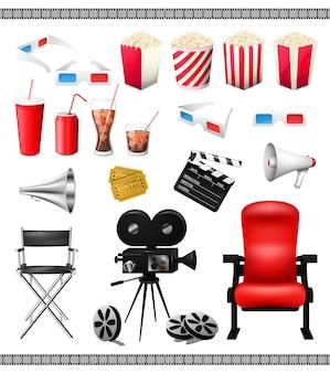 Grande conjunto de elementos de coleção do cinema isolado no fundo branco.