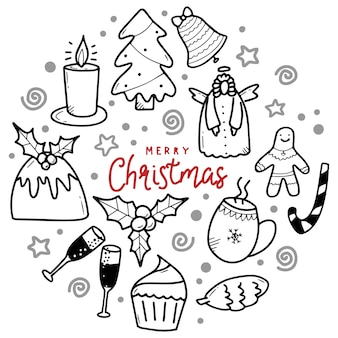 Grande conjunto de elementos de design de natal em estilo doodle