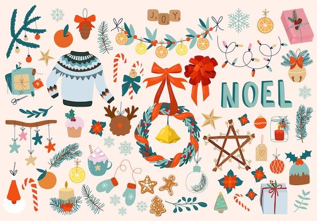 Grande conjunto de elementos de design fofos de natal desenhos animados de suéter brinquedos doces decorativos de natal e presentes desenhados à mão estilo escandinavo