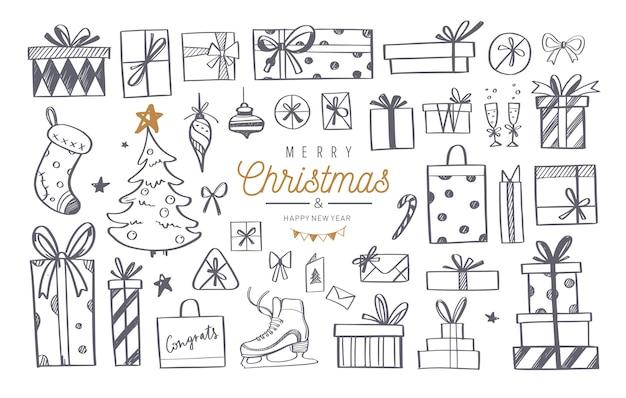 Grande conjunto de elementos de doodle de design de natal com letras de feliz natal e ano novo