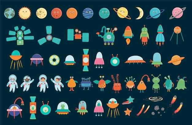 Grande conjunto de elementos de espaço para crianças