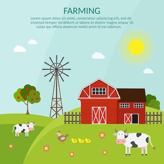 Grande conjunto de elementos de fazenda de vetor
