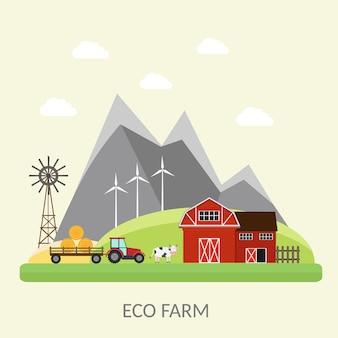 Grande conjunto de elementos de fazenda e cidade de ecologia
