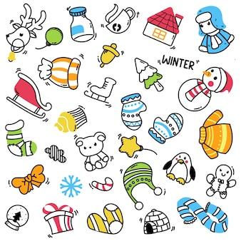 Grande conjunto de elementos de inverno com estilo doodle