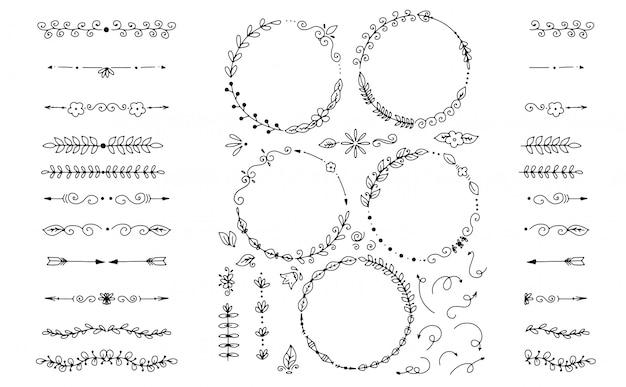 Grande conjunto de elementos decorativos desenhados à mão