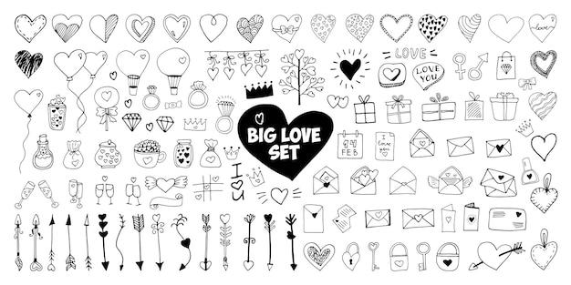 Grande conjunto de elementos do vetor doodle para cartões de dia dos namorados, cartazes, embalagem e design. coração desenhado de mão, isolado no fundo branco. forma geométrica e símbolo.