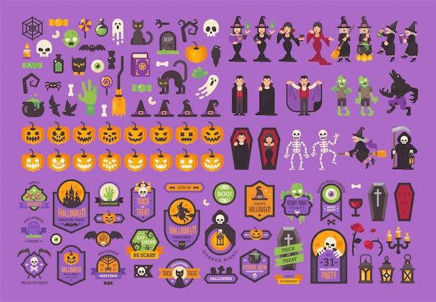 Grande conjunto de elementos e personagens de halloween