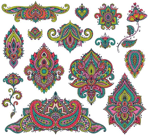 Grande conjunto de elementos florais de henna colorida com base em ornamentos asiáticos tradicionais.