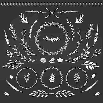Grande conjunto de elementos florais vetoriais em estilo rústico em um quadro-negro