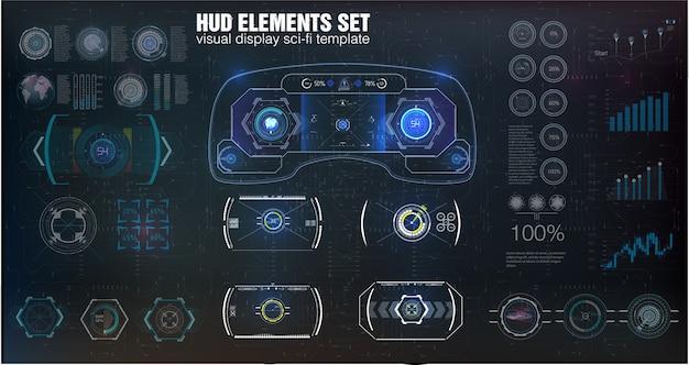 Grande conjunto de elementos hud, gráficos, visores, instrumentos analógicos e digitais, escalas de radar.