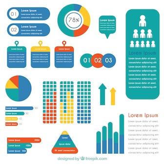 Grande conjunto de elementos infográficos coloridos