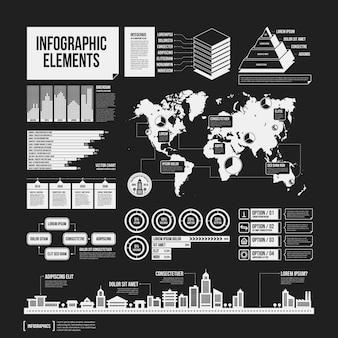 Grande conjunto de elementos infográficos em cores preto e branco. design monocromático. estilo minimalista.