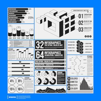 Grande conjunto de elementos infográficos em cores preto e branco no fundo azul. design monocromático. estilo minimalista.