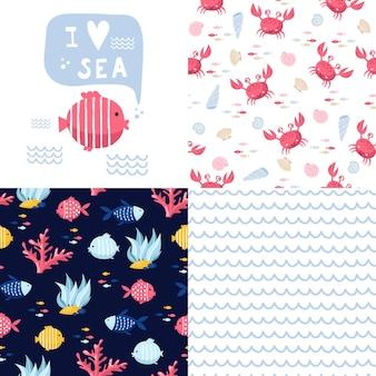 Grande conjunto de elementos marinhos fofos para cartões e adesivos. padrões de desenhos animados do mar. para aniversários, convites para festas, scrapbooking, camisetas, cartões. ilustração vetorial
