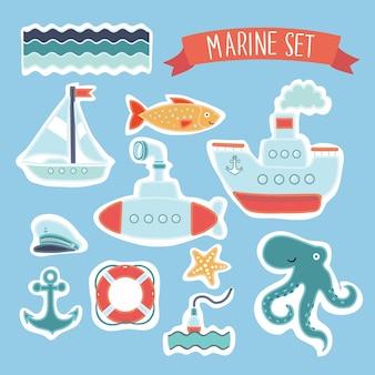 Grande conjunto de elementos marinhos fofos para cartões e adesivos.