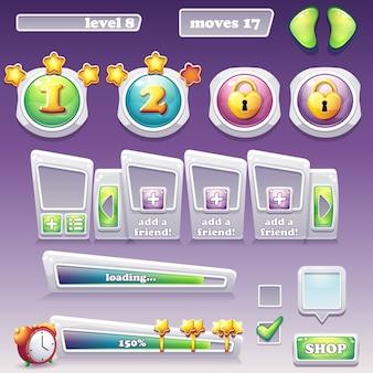 Grande conjunto de elementos para jogos de computador e web design