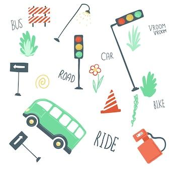 Grande conjunto de elementos urbanos plana simples estilo dos desenhos animados mão desenhando carros estradas semáforos vetor