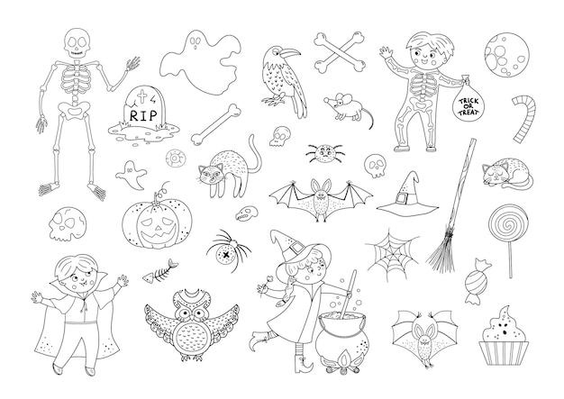 Grande conjunto de elementos vetoriais de halloween em preto e branco. coleção assustadora com aranha jackolantern