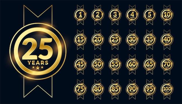 Grande conjunto de emblema de comemoração de etiqueta de aniversário
