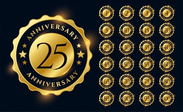 Grande conjunto de emblemas de rótulos de aniversário dourado