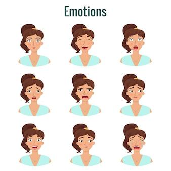 Grande conjunto de emoções de meninas expressões do rosto da mulher