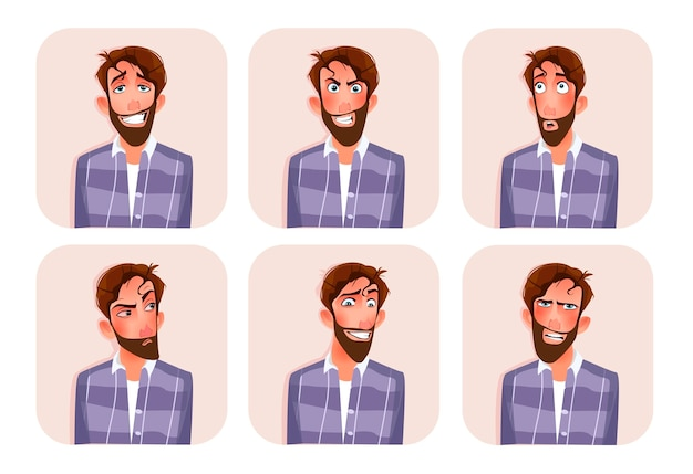 Grande conjunto de emoticons masculinos.