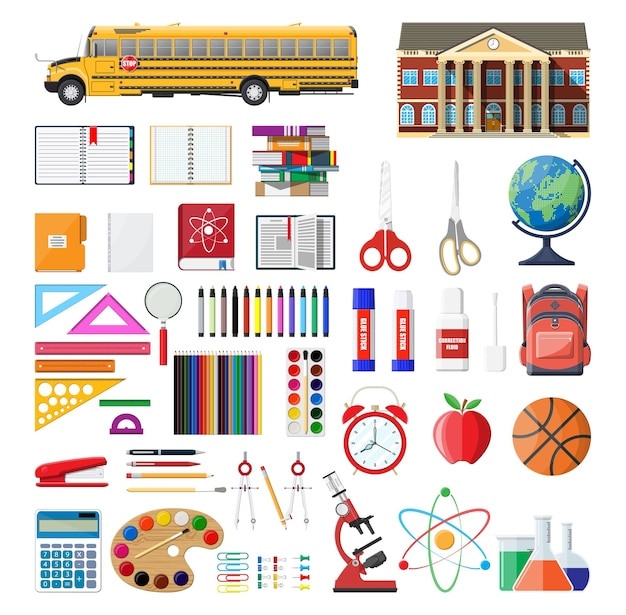 Grande conjunto de escola. material escolar diferente, artigos de papelaria.
