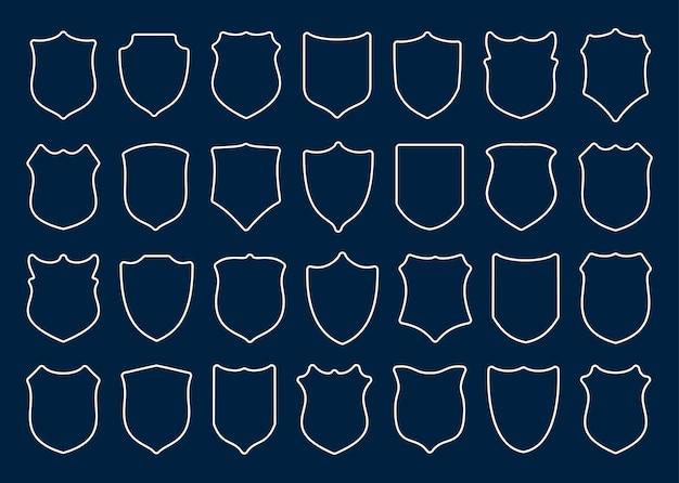 Grande conjunto de escudos de contorno branco com ilustração de cantos arredondados