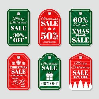 Grande conjunto de etiquetas de natal de férias de design plano