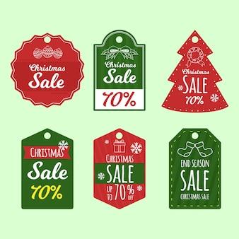 Grande conjunto de etiquetas de natal de férias de mão desenhada