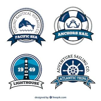 Grande conjunto de etiquetas náuticas brancas e azuis