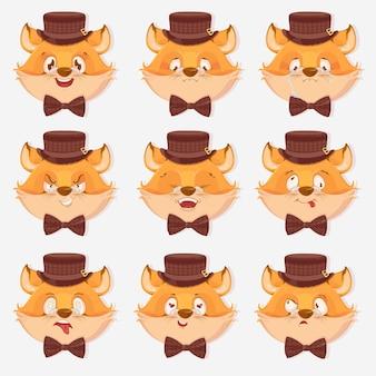 Grande conjunto de expressões de raposa, isolado no fundo branco